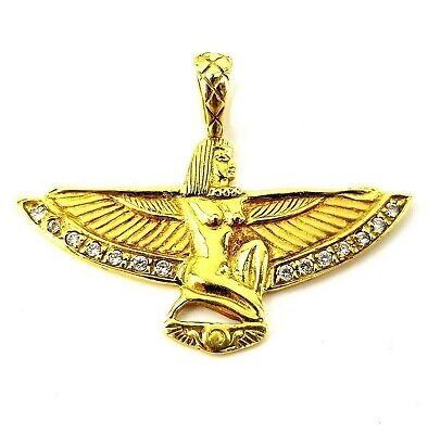 Hallmarked 18ct Gold Diamond Egyptian Revival Winged Goddess Isis Pendant 5.5g