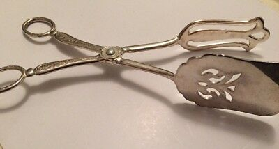Vintage Decorative Silver Plated Cake Tongs Serving Tongs