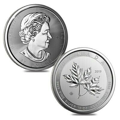 Lot of 2 - 2019 10 oz Canadian Magnificent Silver Maple Leaf .9999 Fine $50 Coin