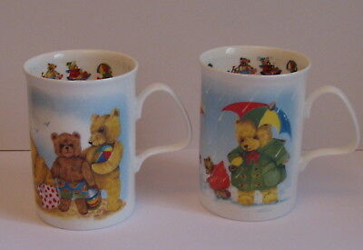 2 x Playtime Teddy Fine Bone China Mugs - Exclusive Designs by Roy Kirkham