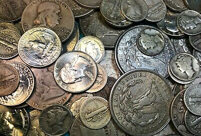 1 Lot of 90% Silver Junk Coins 1 Morgan 1 Half Dollar & Dimes Included Bullion