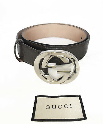 19db72bf6 GUCCI Men's GG Logo Leather Belt Brown Color 411924 CWC1N Size 90-36  Authentic