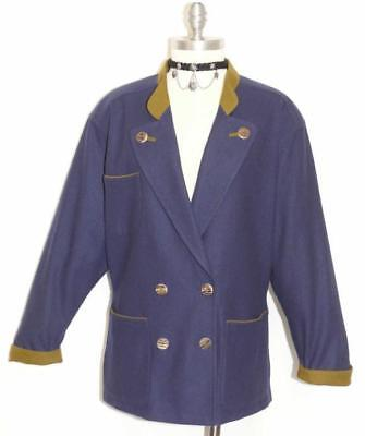 LODENFREY ~ BLUE ~ BOILED WOOL Women AUSTRIA Winter Dress Jacket Over Coat 12 M