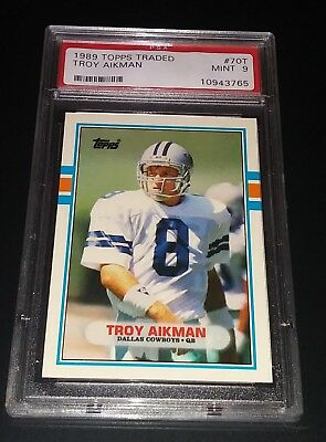 Troy Aikman 1989 Topps Traded #70T Rookie Card PSA 9 MINT Dallas Cowboys HOF
