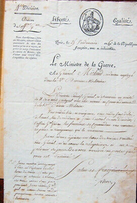 Paris 1798  lettre du ministre SCHERER  nomination du GENERAL MICHAUD à Rennes