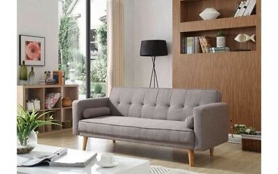 Danish 3 Seater Sofa Bed Grey Fabric Couch Settee Scandinavian Modern Furniture