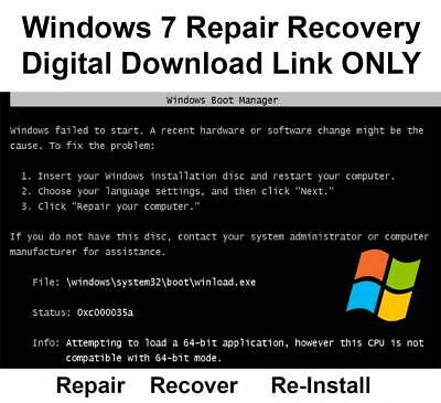 Windows 7 32 / 64 Bit Re-Install Repair Recovery ISO Digital Download Image Link