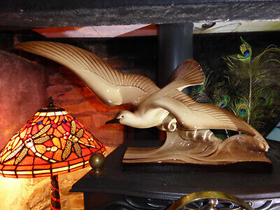 Stunning Art Deco SWOOPING GULL Ceramic fireplace mantle sculpt French ornament