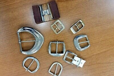 Vintage Lot of 9 Belt Buckles clasps Craft Wear Resell Metal Silver Brass Retro