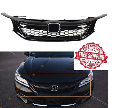 For 2016 2017 Honda Accord Sedan 9th Gen Front Grill Honeycomb Black Chrome