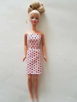 Handmade Barbie Clothes -  White Hearts Party Dress - Made in the USA