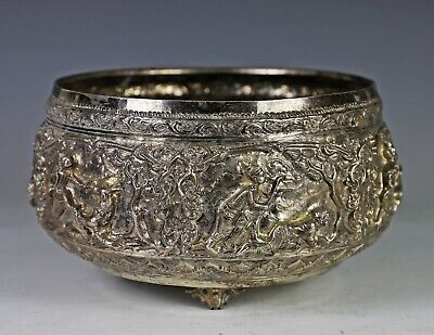 Large Old Thai Silver Bowl with Relief Design