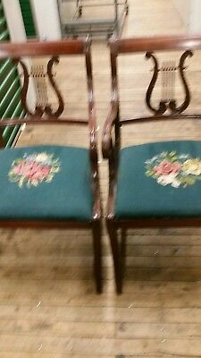 MAHG set of 6 chairs lyre back with needlepoint seat. 2 arm Chair 4 Side
