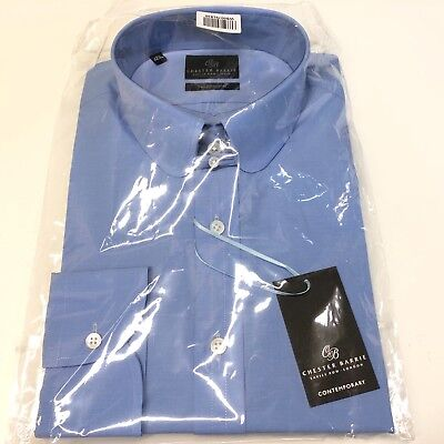"""Mens Blue Shirt CHESTER BARRIE 17.5"""" Tab Collar Tailored Fit Button Cuff £110"""