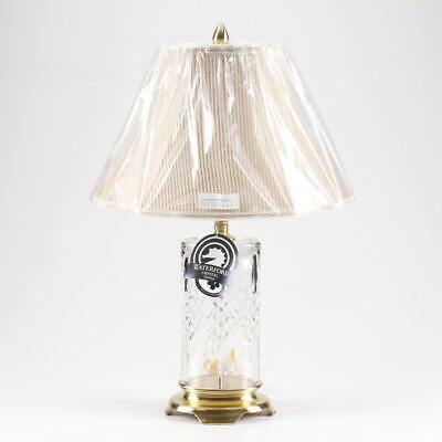 """Waterford Crystal Lismore Reflections 27"""" STUNNING Table Lamp w/ Striped Shade"""