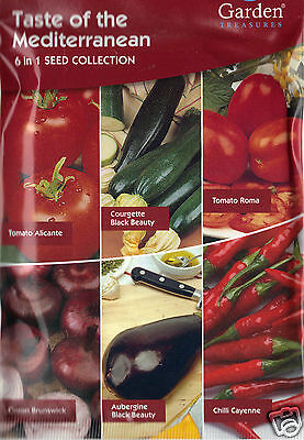 Mediterranean 6in1 Vegetable Seeds/Tomatoes Courgette Aubergine Onion Chili 2019