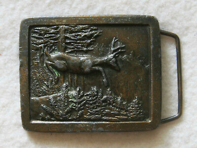 Belt Buckle Indiana Metal Craft 1977 Deer in Forest Brass Vintage