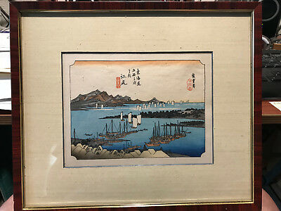 "Antique Japanese Ukiyo-e Woodblock ""Panorama of Miwo Pine Wood from Ejiri"""
