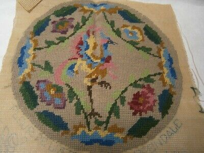 ANTIQUE 30cm  COMPLETED TAPESTRY FOR FOOTSTOOL CHIPPENDALE BIRD & FLORAL DESIGN