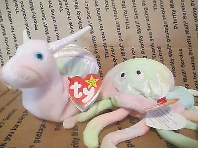 TY BEANIE BABIES - GOOCHY THE JELLYFISH '98  & SWIRLY THE SNAIL '99 - with tags
