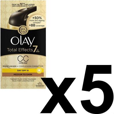 5 Olay Total Effects Color Corrección Crema Hidratante Spf 15 Mediumtodark 50ml