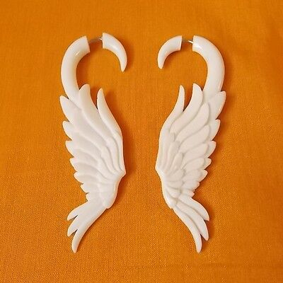 Pair of Feather Fake Gauge Earrings Angel Wing Split Taper Carved Plug Wholesale