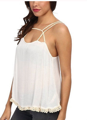 045d95f91e14b8 NWT  48 Intimately Free People Summer Strappy Crochet Trim Cami Tank Top L