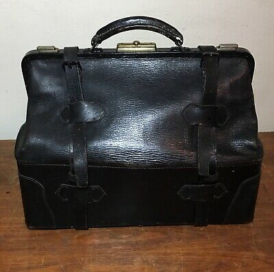 Vintage Old Black Leather Dr.'s Doctors Bag Briefcase