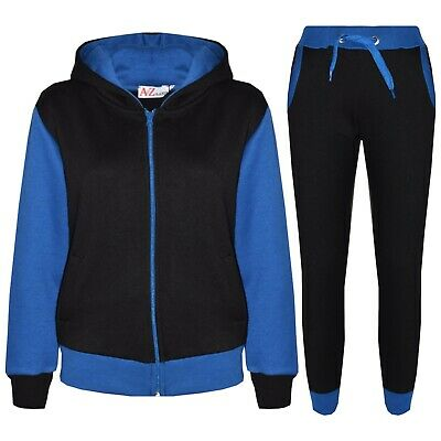 Kids Girls Tracksuit Fleece Royal Hooded Hoodie Bottom Jogging Suit Jogger 2-13Y
