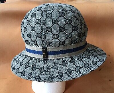 VTG GUCCI GG Canvas Bucket Hat Women s Size XL Tan Logo Web Italy ... 6bf367e3d01