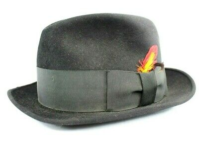 6a50683aaa0 Royal Stetson Felt Fedora Bowler Hat Black with Black Band and Feathers