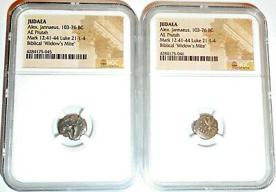 Two (2) Ancient Widows Mites 2000 year old Judaea Pruta Coins, NGC Certified