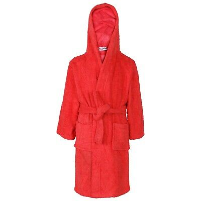 Kids Girls Cotton Soft Terry Hooded Red Bathrobe Luxury Dressing Gown 2-13 Years