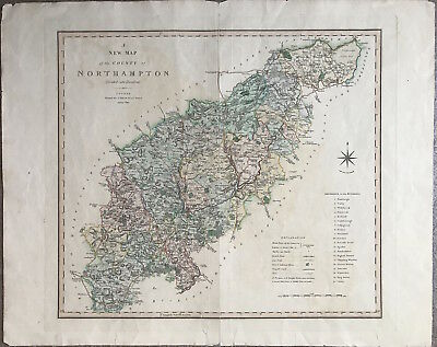 Original Large Map of NORTHAMPTON by Charles Smith c1804 colour, antique