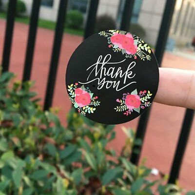 Stickers - Thank You Black Round Floral Stickers - Set of 24