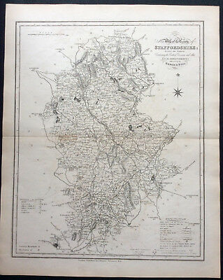 100% Original County Map of STAFFORDSHIRE c1838 by Ebden & J Duncan, Scarce