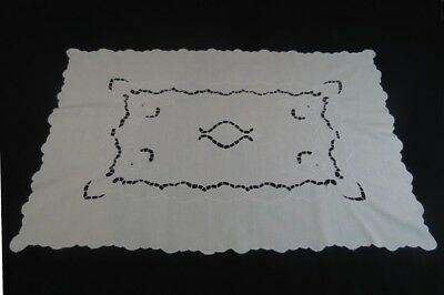 Large White Vintage Linen Runner or Table Centre with Cut Work Embroidery