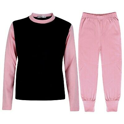 Kids Girls Baby Pink Color Contrast Pjs Plain Stylish Pyjamas Set Age 2-13 Year