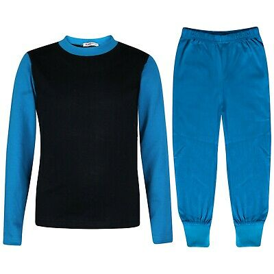 Kids Boys Girls Pjs Contrast Blue Color Plain Stylish Pyjamas Set Age 2-13 Year