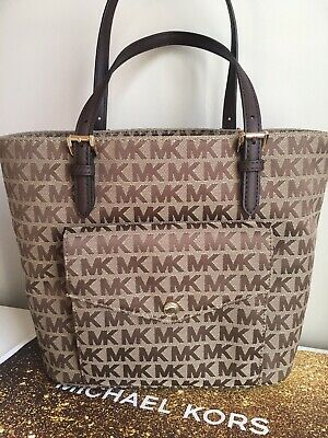 dc2b20fe39a6 Michael Kors 💯%Authentic Jet Set Medium Pocket Java Tote handbag Bag NWT