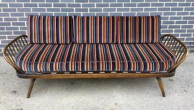 Midcentury Vintage 1970s Ercol Model 355 Studio Couch Sofa Daybed Reupholstered