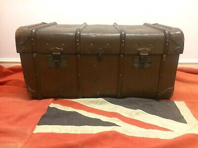 Antique Edwardian Steamer Trunk Chest Coffee Table Locks With Key W Grime & Son