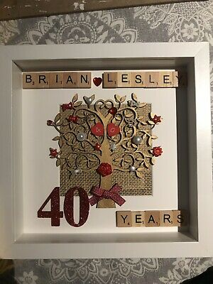 Scrabble Art Picture Frame Gift Wedding,Engagement,Anniversary,Ruby,Golden,silve