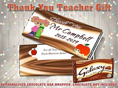 Personalised No:1 Thank You Teacher Galaxy Chocolate Bar Wrapper End of Term