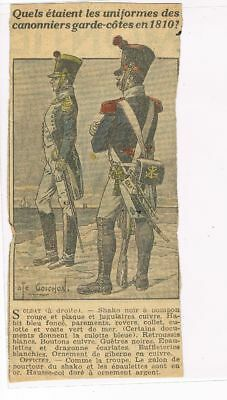 Rare coupure de journal.Uniforme.Canonniers garde côtes en 18010. (9)