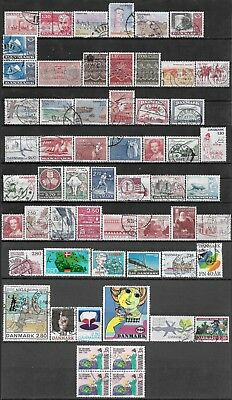 1980-1986 Denmark Lot Of 58 Used Stamps