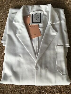 Doctor Dr James Unisex White Lab Laboratory/Science Coat Cotton SIZE SMALL
