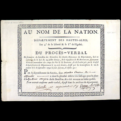 1792 - Brevet De Nomination D'adjudant Major Aux Grenadiers Des Gardes Nationaux