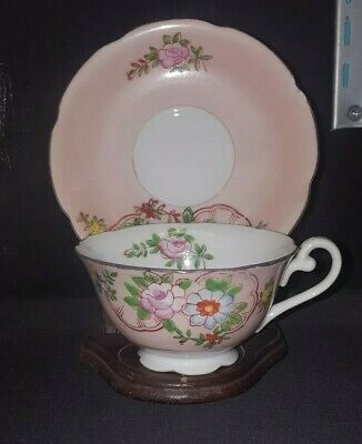 TrimontTea Cup and Saucer Made In Occupied JapanPink Rose