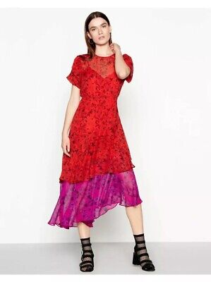 cdd1338ca1a0 Studio By Preen Red Floral Print Round Neck Short Sleeve High Low Dress RRP  £79